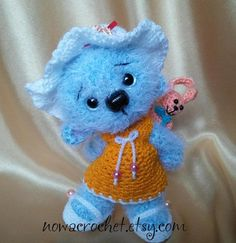 "Little blue bear Bea  amigurumi PDF crochet pattern by Nowacrochet; 6 1/2"" tall with worsted weight yarn"