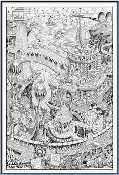 Wildergorn, colour in posters, colouring posters, coloring posters, colouring, color in, coloring, coloring, coloring, poster art, doodle, felt-tip pens, brush pens, gel pens, Stabilo, Lord of the Rings, J R R Tolkien, M C Escher, Harry Potter, Narnia, Discworld, Fantasy world, Jamie Courtier, Jim Henson's Creature Shop, Vicky Kimm, UK, www.wildergorn.com,: