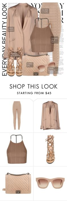 """""""Untitled #1296"""" by noviii ❤ liked on Polyvore featuring Nobis, Balmain, Lanvin, Topshop, Gianvito Rossi, Chanel and STELLA McCARTNEY"""