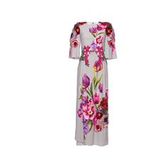 Dolce & Gabbana Floral Bouquet Print Cady Dress (38.655 BRL) ❤ liked on Polyvore featuring dresses, dolce & gabbana, white dress, short-sleeve dresses, short sleeve dress, dolce gabbana dresses and embellished dress