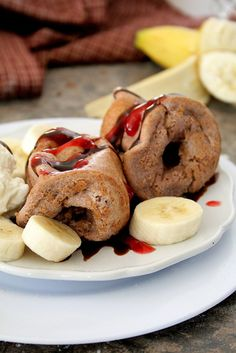 Nutella Raspberry Popovers with fresh bananas.  Like a Banana Split for breakfast!