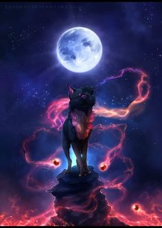 Song of the Blue Moon - Commission. by Eredhys on Deviant Art Mystical Animals, Mythical Creatures Art, Magical Creatures, Pet Anime, Anime Animals, Fantasy Wolf, Fantasy Art, Anime Lobo, Tier Wolf