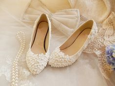 Handmade Lace Shoes, Pearl White Lace Daisy Bridal Shoes, Ballet Flat Shoes, High Heel, Wedding Shoes, Bridesmaid Shoes Beaded Lace Shoes