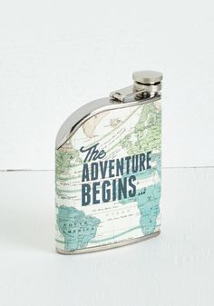 Taste for Adventure Flask. You prepped your latest mixology marvel to perfection - now unscrew this cartographic flask from Wild  Wolf and pack it with you on your travels! #blue #modcloth