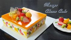 How to make mango cheesecake / mango jelly / Recipe / Fruits cake Mango Desserts, Mango Recipes, Jelly Recipes, Asian Desserts, Just Desserts, Sweet Recipes, Dessert Recipes, Dessert Party, Dessert Mousse
