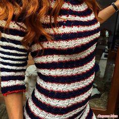 crochelinhasagulhas: Vestido de listras em crochê by Vanessa Montoro