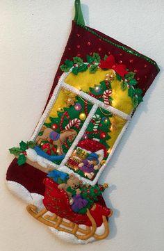 Media de Bucilla Navidad ventana Navidad terminado