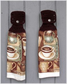 Hanging Kitchen Towels Coffee Matching Pair By Debbiecrochets 9 95