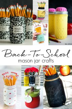 Back-to-school mason jar craft ideas. Teacher gift ideas with mason jars. Kids craft ideas for back-to-school. Homemade teacher gift ideas with jars.