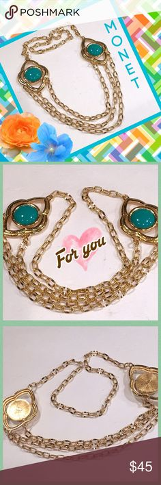 """MONET Vintage Necklace  Vintage original Monet gold tone statement necklace in mint condition.  Drop from neck is 13"""" and each sea green enamel medallion measures 2"""" x 2.5"""". Monet Jewelry Necklaces"""