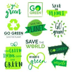 Go green and save the planet badge collection Free Vector Watercolor Splatter, Watercolor Logo, Save Planet Earth, Save The Planet, Green Concept, Carta Logo, Style Vert, Banners, Banner Shapes