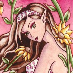 Sunflower Mermaid Print Fantasy Art 5x7 Flower by aurella27