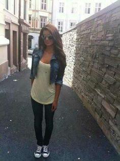 Jean Jacket With Leggings And A Flowy Tank. Teen Fashion. By-Iheartfashion14♥ →follow←