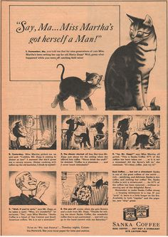 Vintage Sanka Coffee Ad, Christian Science Monitor Ad, Original Cat Ad, Original Matted Ad, Vintage Advertisement, Unusual Desk Decor
