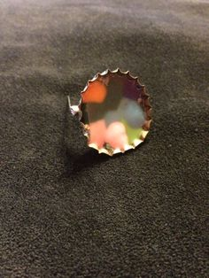 One of a Kind Upcycled Green Coke Life Soda Bottle Cap Rainbow melted Bead Pin Brooch by BombPopBoutique on Etsy