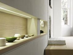 Love this detail of the LED strip giving low light to recessed niches. Macdonald Wright in London.