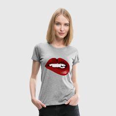 lips Women's Premium T-Shirt Print Design, Lips, Clothing, T Shirt, Black, Women, Style, Fashion, Tall Clothing