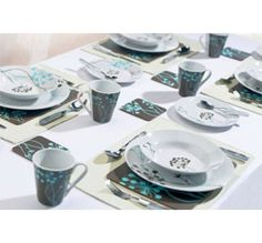 Love this! What a great deal!    44 Piece Dinnerware Set - Porcelain - Brown and Teal Vine Design
