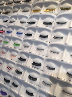 An array of lashes on display at the #BEAUTY2015 in Düsseldorf, Germany. #MakeupIsAScience