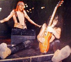Axl Rose and Slash of Guns N' Roses, late '80s