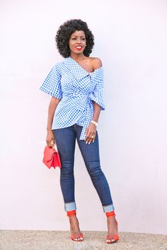 Gingham Wrap Top + High Waist Levi's Jeans (Style Pantry) Trendy Outfits, Summer Outfits, Cute Outfits, Fashion Outfits, Womens Fashion, Fashion Trends, Fall Outfits, Fashion Tips, Spring Summer Fashion