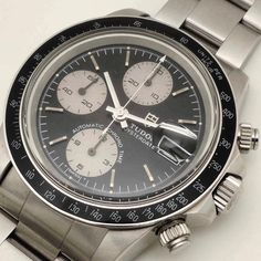 """WWW.ANCIENNE.ES  New in: #TudorBigBlock ref.79160 in black base-white subdial configuration circa 1992 in a very good condition. The #79160 (non-rotatable black tachymeter) is the earliest """"Big Block"""" series, do you think it is already a #collectiblewatch ? #anciennewatches #tudor #rolexvintage #watchcollector"""