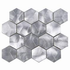 "Supreme Tile 3"" x 3"" Metal Honeycomb Mosaic Tile | Wayfair Backsplash Panels, Black Backsplash, Kitchen Backsplash, Hexagon Mosaic Tile, Hexagon Backsplash, Traditional Mosaic Tile, Silver Walls, Metal Floor, Feature Tiles"