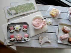 Dollhouse miniature Easter baking set cake and cookies by Kimsminibakery on Etsy