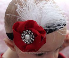 Red Satin Flower with White Feather Headband - Flower Girl Headband - Holiday Headband - Pearl Rhinestone Headband - Black Glitter Band