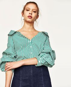 Image 2 of WIDE OPEN NECK SHIRT WITH PUFFY SLEEVES from Zara
