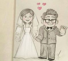 Discover recipes, home ideas, style inspiration and other ideas to try. Pencil Art Drawings, Art Drawings Sketches, Disney Drawings, Carl Y Ellie, Anime Muslim, Couple Drawings, Disney Wallpaper, Wallpaper Art, Character Drawing