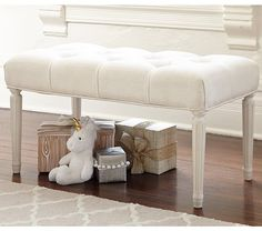 "Blythe Upholstered Bench | Pottery Barn Kids, Vintage Simply White bench features Washed Linen Cotton Ivory fabric, Twin 34""L x 17""w x 18""h, $239 on sale (reg $299)"