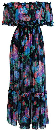 Dress Yves Saint Laurent, 1970s I had an off the shoulder maxi dress with a flounce just like this.