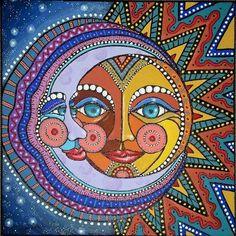 art lessons pattern sun and moons Hippie Kunst, Hippie Art, Kunst Inspo, Art Inspo, Psychedelic Art, Illustration Photo, Mandala, Sun Art, Mexican Folk Art