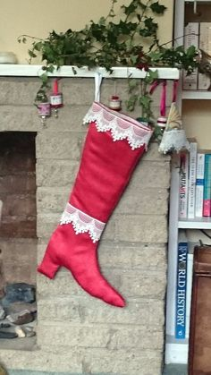 Luxury Christmas boot stocking to conceal that special gift: Red/lace