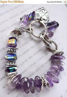 bracelet heart bracelet amethyst bracelet African amethyst