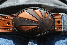 Japanese rising sun brown leather belt buckle by GettingWeddy, $30.00