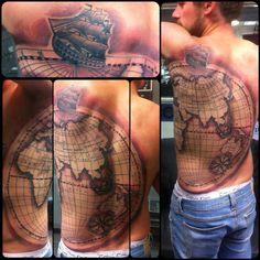 tattoo piece by Derek Nelson World Map Tattoos, Life Tattoos, New Tattoos, I Tattoo, Tattoos For Guys, Badass Tattoos, Cool Tattoos, Awesome Tattoos, Under My Skin