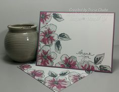 handmade thank you card and envelope .... three stamp flowers and leaves in grays with sugarblum ... luv the artsy look of the flowers ... Stampin' Up!