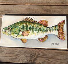 #paigebrownart #etsy 12 x 24 canvas Original art Bass fish painting