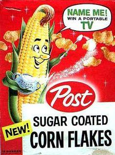 Sugar Coated Corn Flakes  c.1959-Corn-Fetti (early 1950s), later known as Sugar Coated Corn Flakes (late 1950s), later known as Sugar Sparkled Corn Flakes (1960s)