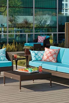 Bold and Bright Patio Furniture. I like the color of the cushions, but I'm not crazy about the brown area.