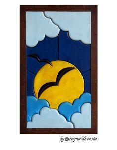 SOL ENTRE NUVENS - Quadro em madeira de 3 e 6mm de espessura, alto relevo - Estilo Intarsia (Marchetaria) - Medida 30cm x 50cm. Wood Pallet Art, Wood Pallets, Wood Art, Wooden Puzzles, Wooden Toys, Different Forms Of Art, Arte Country, Puzzle Art, Intarsia Woodworking