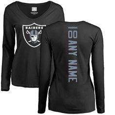 02b39a301a4 Oakland Raiders NFL Pro Line Women s Personalized Backer Long Sleeve T-Shirt  - Black