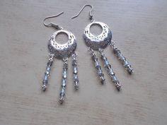 orechini donna pendente  in filigrana e vetro  misura con monachella 8,5x2,5