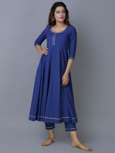 Blue Cotton Anarkali Kurta with Palazzo - Set of 2 Kurta Designs Women, Kurti Neck Designs, Salwar Designs, Kurti Designs Party Wear, Pakistani Dress Design, Pakistani Outfits, Indian Outfits, Dress Indian Style, Indian Dresses