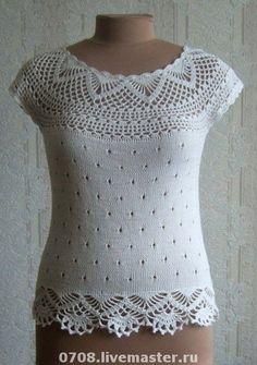 Delicadezas en crochet Gabriela: Maravillosa blusa con finos detalles de puntillas