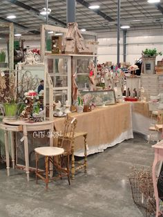 cool looking booth with vintage finds