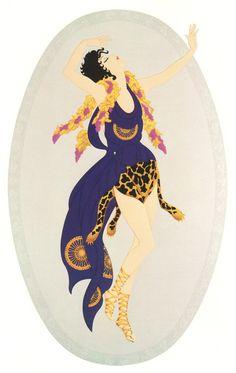 BACCHANTE Chic Original Vintage ERTE Art Deco Print Fashion Book Plate