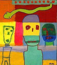 SNAKE DREAM Hoke Outsider RAW Folk Abstract Art Brut Painting Grafitti VISIONARY